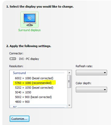 How to get 5760x1080 Surround Working With NVIDIA 3 screens display