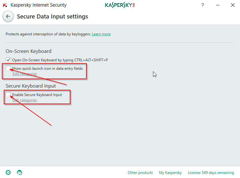Solved: How to disable Kaspersky secure keyboard input is enabled